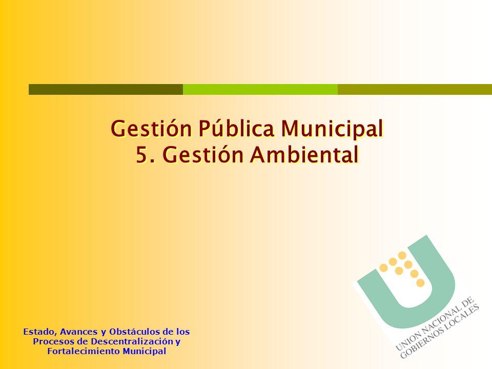Estado, Avances y Obstáculos de los Procesos de Descentralización y Fortalecimiento Municipal Gestión Pública Municipal 5. Gestión Ambiental