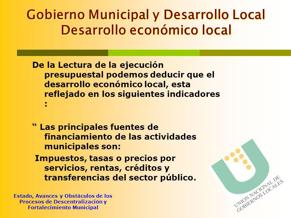 Estado, Avances y Obstáculos de los Procesos de Descentralización y Fortalecimiento Municipal Gobierno Municipal y Desarrollo Local Desarrollo económi