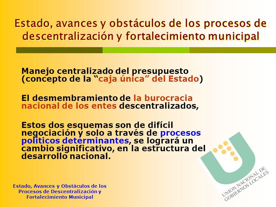 Estado, Avances y Obstáculos de los Procesos de Descentralización y Fortalecimiento Municipal Régimen Municipal 1.