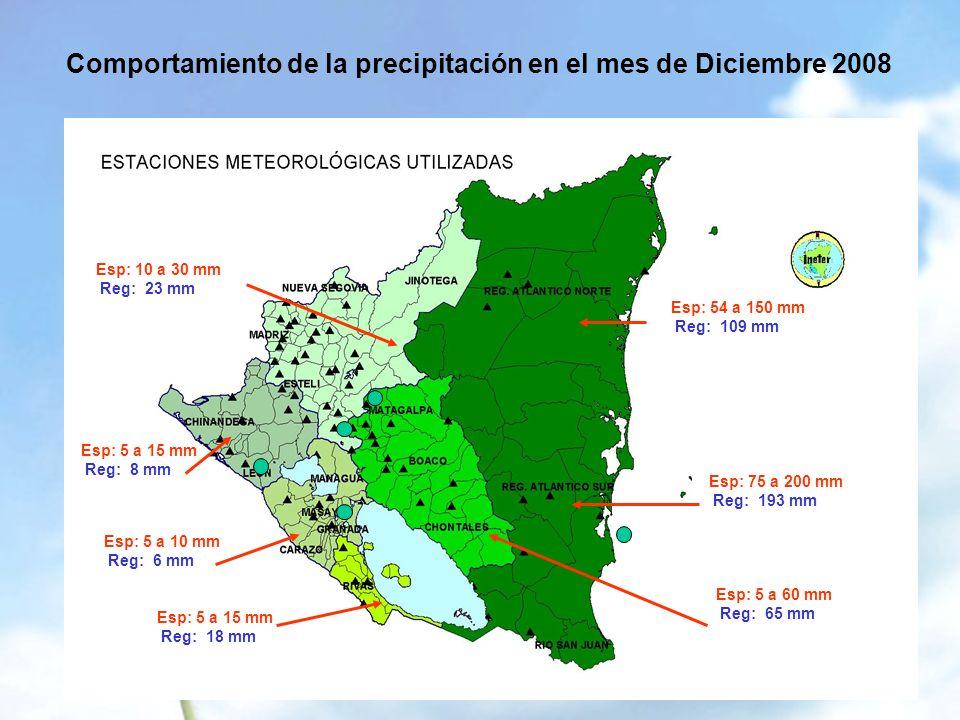 Comportamiento de la precipitación en el mes de Diciembre 2008 Esp: 10 a 30 mm Reg: 23 mm Esp: 5 a 15 mm Reg: 8 mm Esp: 5 a 10 mm Reg: 6 mm Esp: 5 a 15 mm Reg: 18 mm Esp: 54 a 150 mm Reg: 109 mm Esp: 75 a 200 mm Reg: 193 mm Esp: 5 a 60 mm Reg: 65 mm