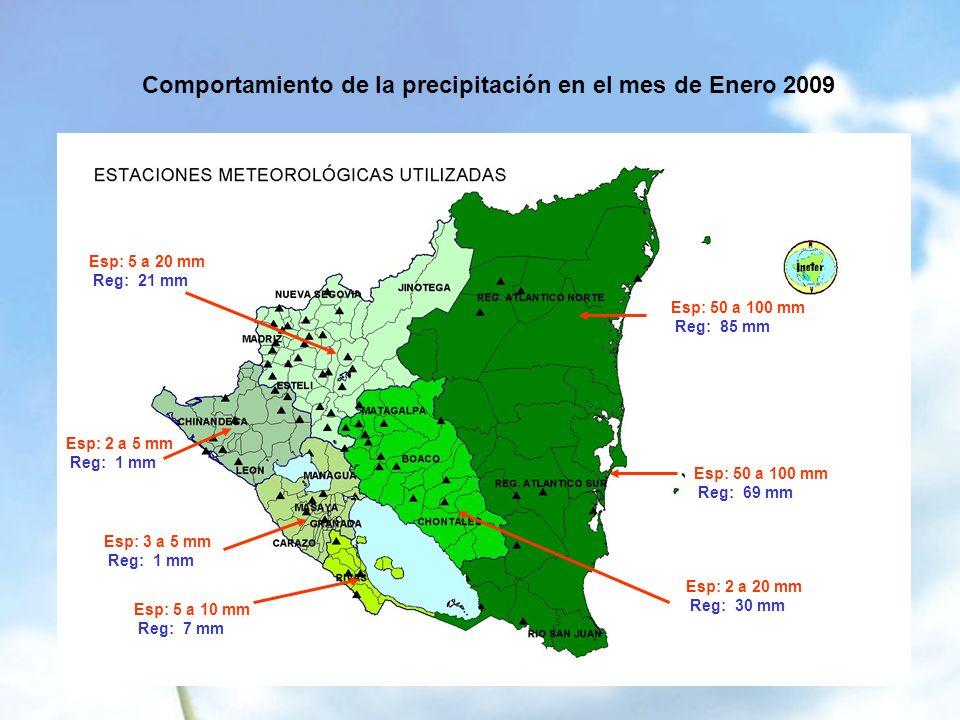 Comportamiento de la precipitación en el mes de Enero 2009 Esp: 50 a 100 mm Reg: 85 mm Esp: 50 a 100 mm Reg: 69 mm Esp: 2 a 20 mm Reg: 30 mm Esp: 5 a 20 mm Reg: 21 mm Esp: 2 a 5 mm Reg: 1 mm Esp: 3 a 5 mm Reg: 1 mm Esp: 5 a 10 mm Reg: 7 mm