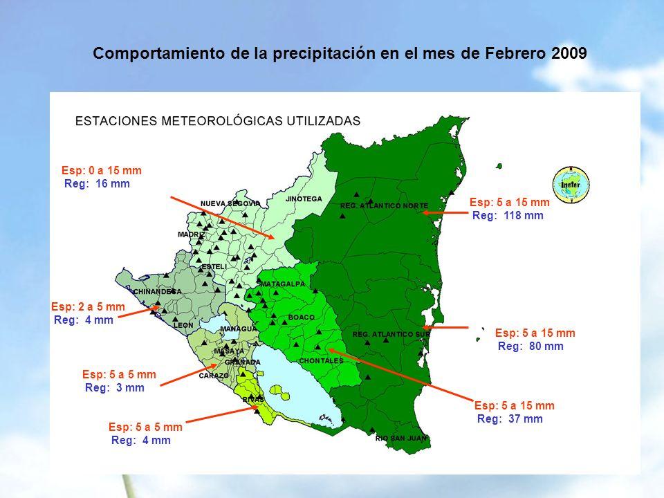 Comportamiento de la precipitación en el mes de Febrero 2009 Esp: 0 a 15 mm Reg: 16 mm Esp: 2 a 5 mm Reg: 4 mm Esp: 5 a 5 mm Reg: 3 mm Esp: 5 a 5 mm Reg: 4 mm Esp: 5 a 15 mm Reg: 37 mm Esp: 5 a 15 mm Reg: 118 mm Esp: 5 a 15 mm Reg: 80 mm