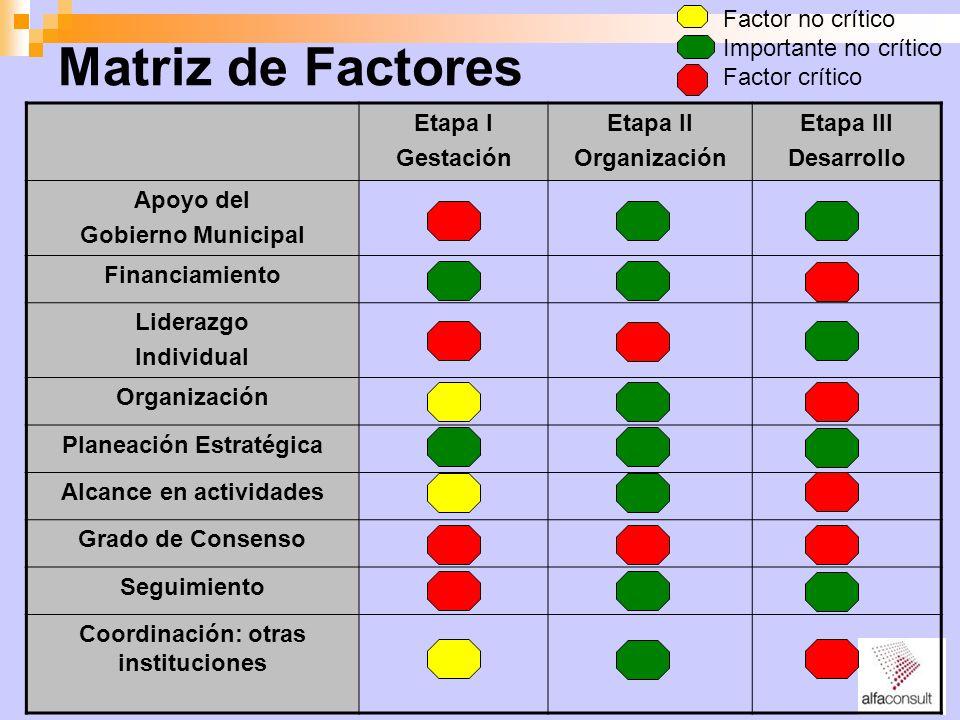 Matriz de Factores Etapa I Gestación Etapa II Organización Etapa III Desarrollo Apoyo del Gobierno Municipal Financiamiento Liderazgo Individual Organ