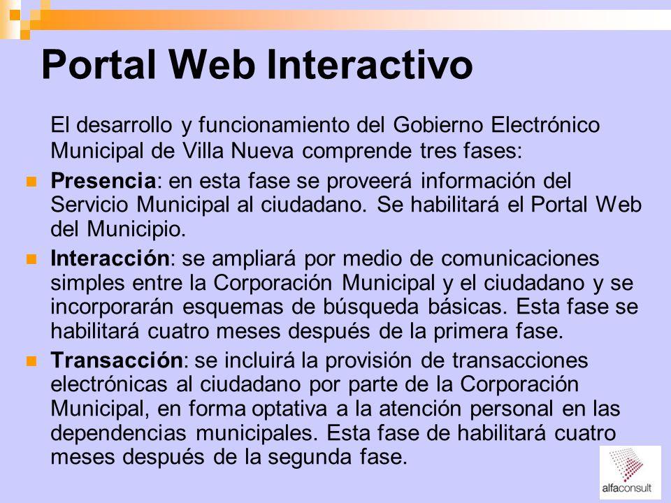 Portal Web Interactivo El desarrollo y funcionamiento del Gobierno Electrónico Municipal de Villa Nueva comprende tres fases: Presencia: en esta fase