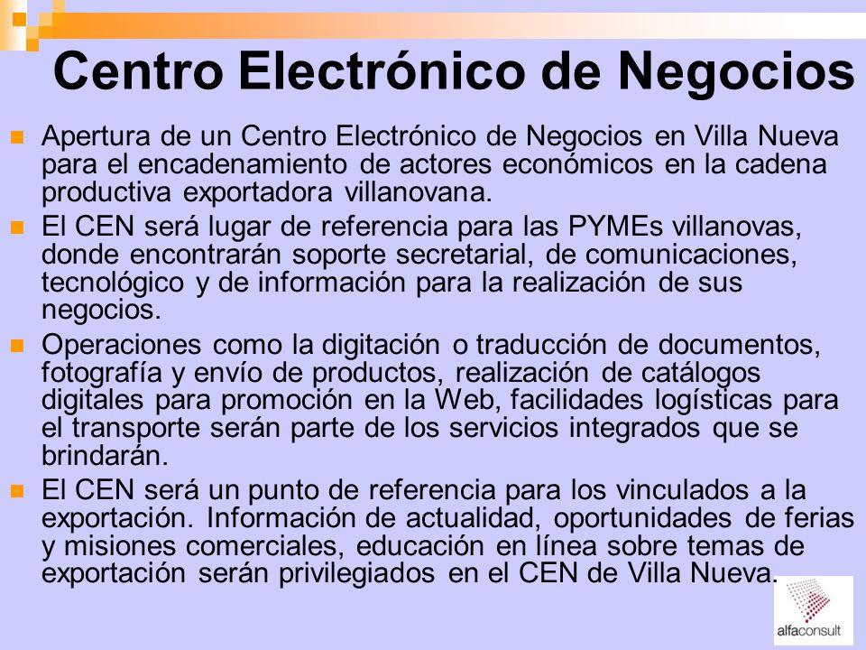 Centro Electrónico de Negocios Apertura de un Centro Electrónico de Negocios en Villa Nueva para el encadenamiento de actores económicos en la cadena