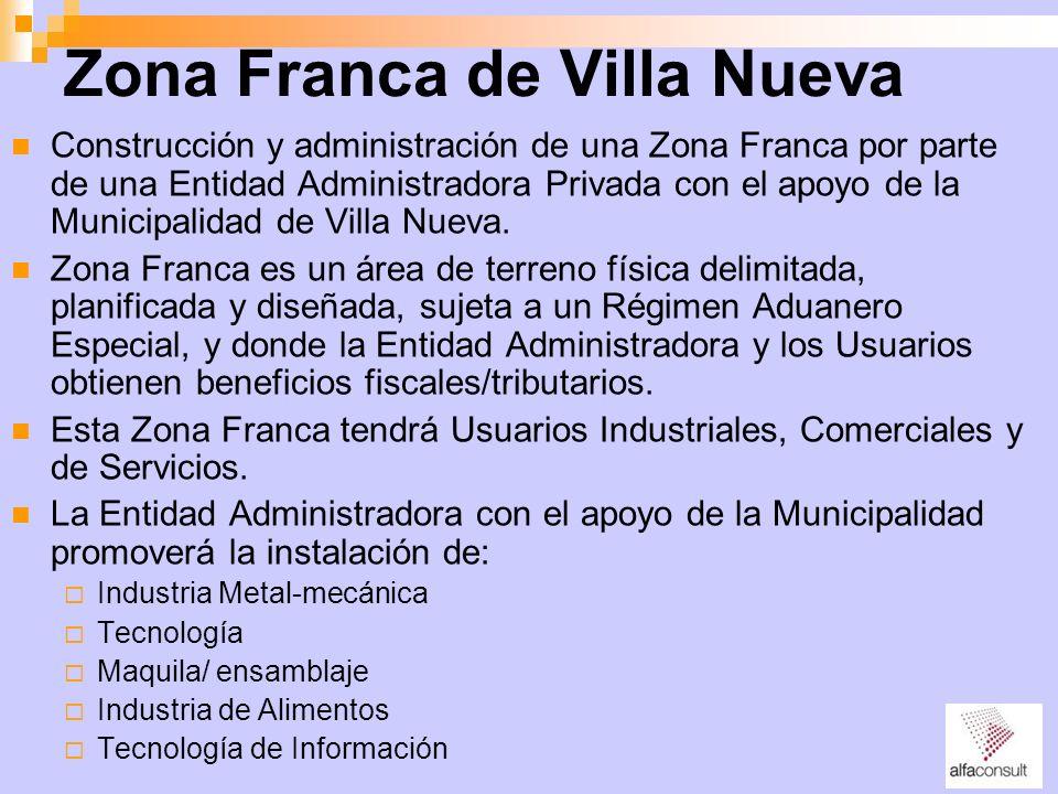 Zona Franca de Villa Nueva Construcción y administración de una Zona Franca por parte de una Entidad Administradora Privada con el apoyo de la Municip