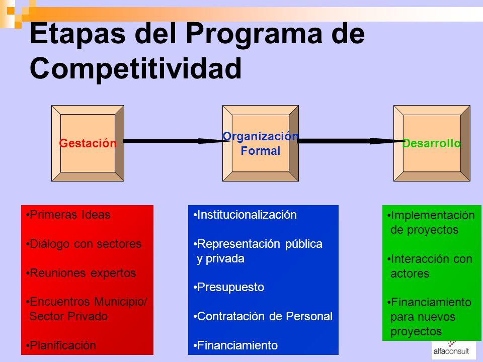 Etapas del Programa de Competitividad Gestación Organización Formal Desarrollo Primeras Ideas Diálogo con sectores Reuniones expertos Encuentros Munic