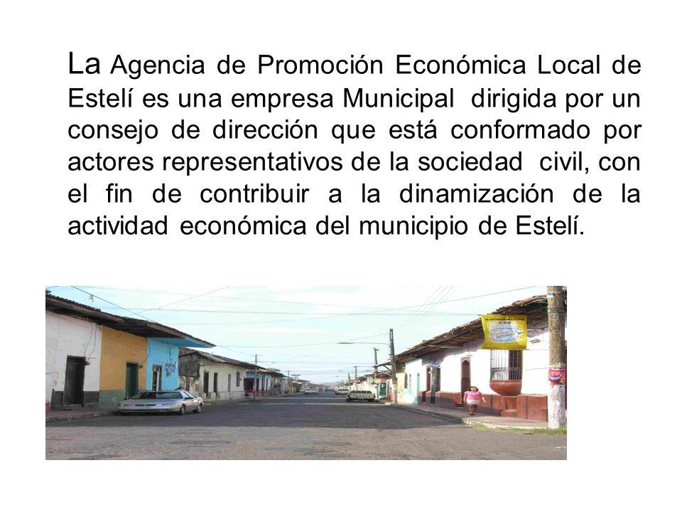 La Agencia de Promoción Económica Local de Estelí es una empresa Municipal dirigida por un consejo de dirección que está conformado por actores repres