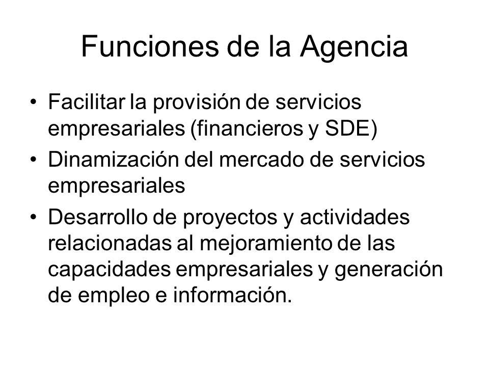 Funciones de la Agencia Facilitar la provisión de servicios empresariales (financieros y SDE) Dinamización del mercado de servicios empresariales Desa