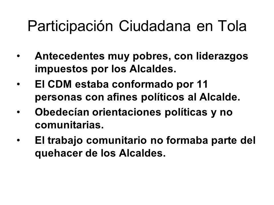 Participación Ciudadana en Tola Antecedentes muy pobres, con liderazgos impuestos por los Alcaldes. El CDM estaba conformado por 11 personas con afine