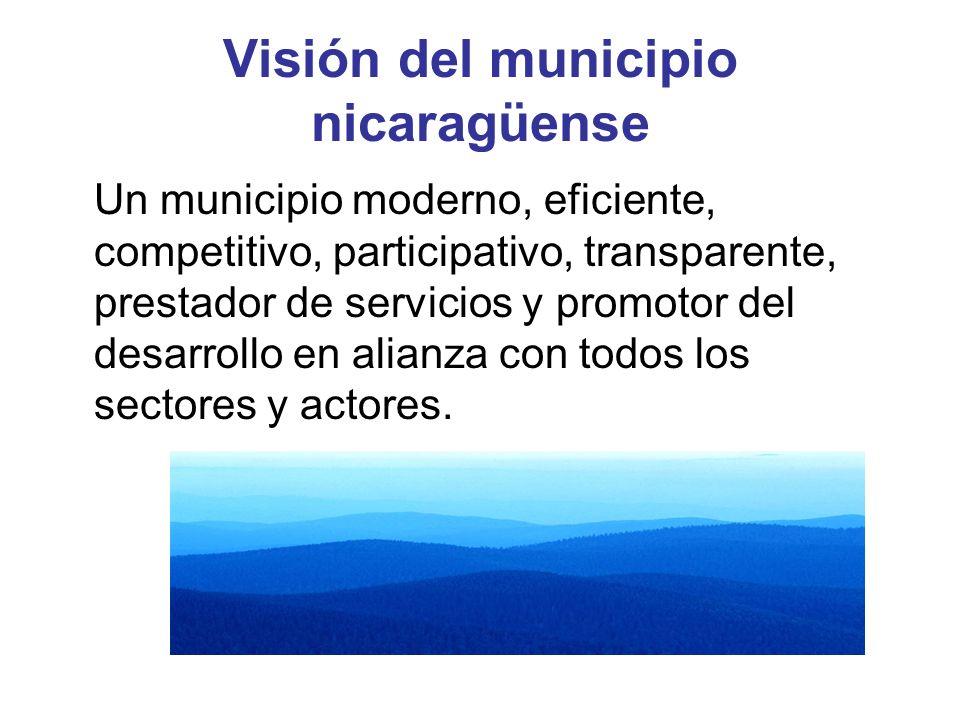Visión del municipio nicaragüense Un municipio moderno, eficiente, competitivo, participativo, transparente, prestador de servicios y promotor del des