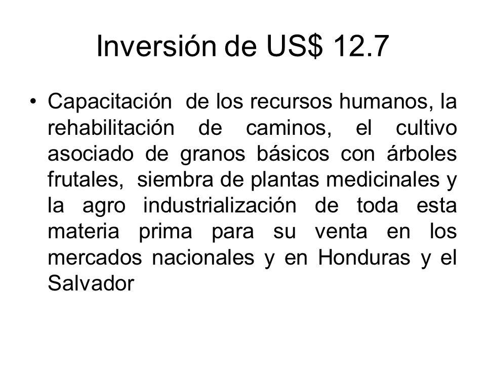 Inversión de US$ 12.7 Capacitación de los recursos humanos, la rehabilitación de caminos, el cultivo asociado de granos básicos con árboles frutales,