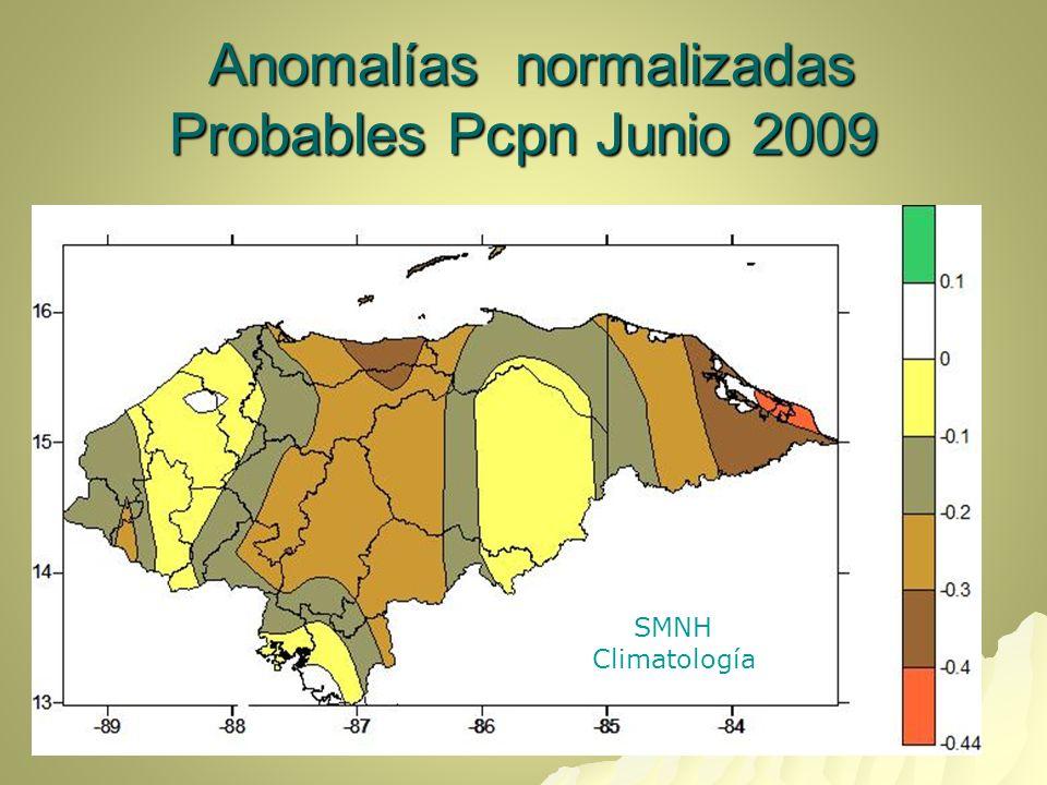 Anomalías normalizadas Probables Pcpn Junio 2009 Anomalías normalizadas Probables Pcpn Junio 2009 SMNH Climatología