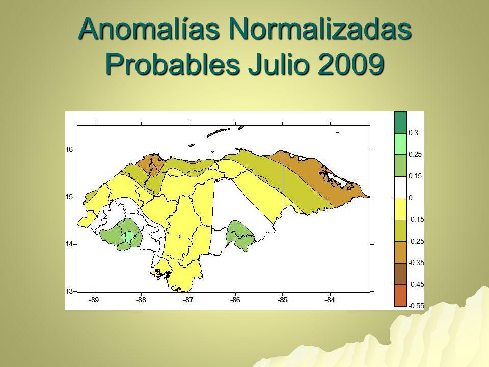 Anomalías Normalizadas Probables Julio 2009