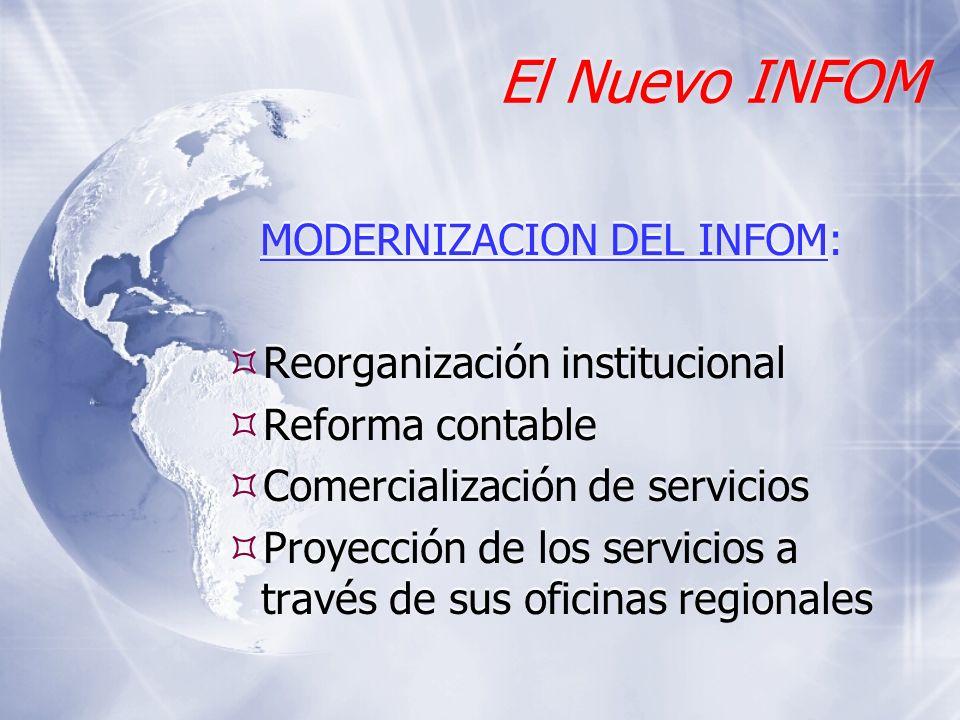 El Nuevo INFOM MODERNIZACION DEL INFOM: Reorganización institucional Reforma contable Comercialización de servicios Proyección de los servicios a trav