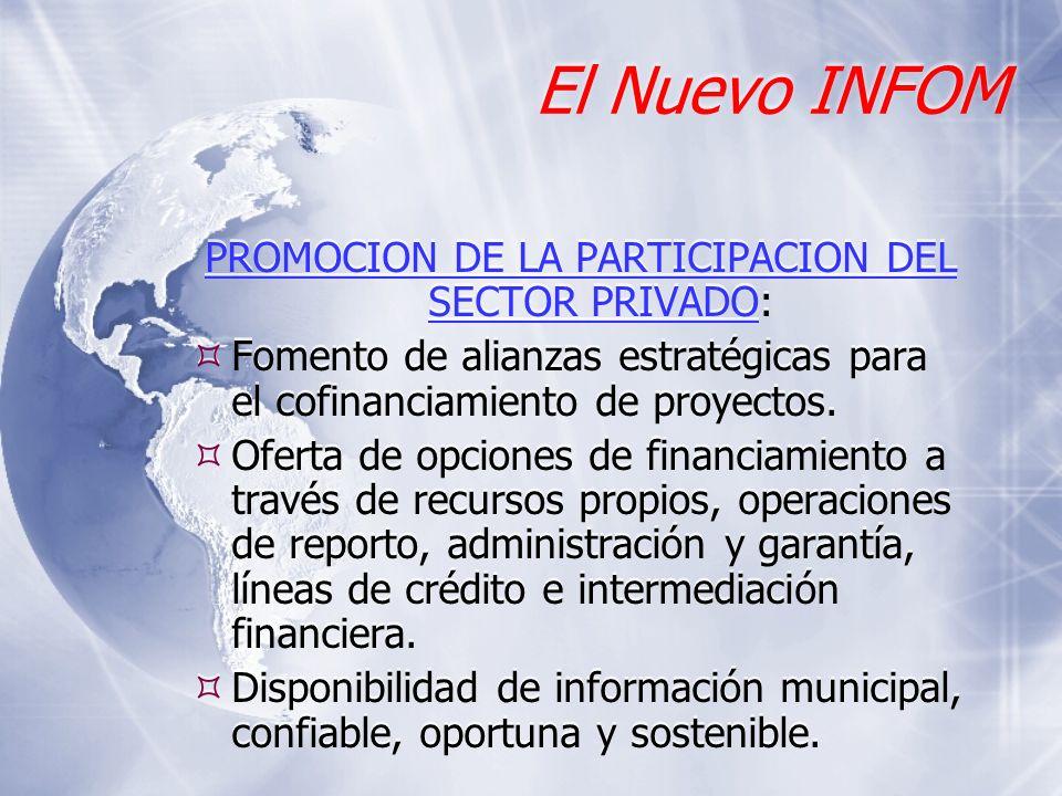 El Nuevo INFOM PROMOCION DE LA PARTICIPACION DEL SECTOR PRIVADO: Fomento de alianzas estratégicas para el cofinanciamiento de proyectos. Oferta de opc