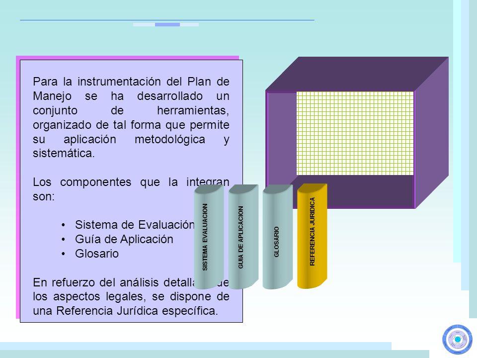Para la instrumentación del Plan de Manejo se ha desarrollado un conjunto de herramientas, organizado de tal forma que permite su aplicación metodológ