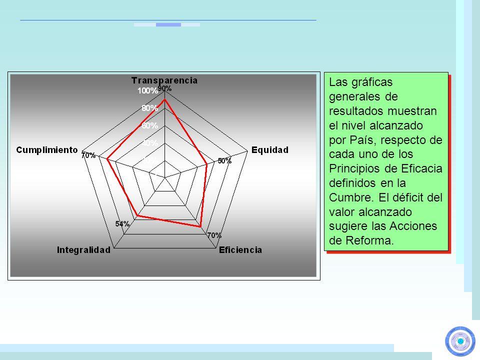 Las gráficas generales de resultados muestran el nivel alcanzado por País, respecto de cada uno de los Principios de Eficacia definidos en la Cumbre.
