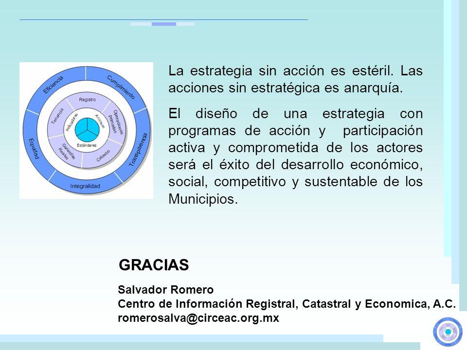 GRACIAS Salvador Romero Centro de Información Registral, Catastral y Economica, A.C. romerosalva@circeac.org.mx La estrategia sin acción es estéril. L