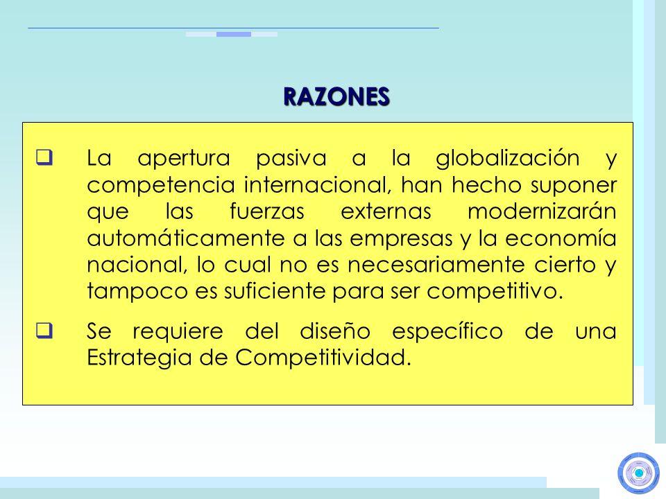 RAZONES La apertura pasiva a la globalización y competencia internacional, han hecho suponer que las fuerzas externas modernizarán automáticamente a l