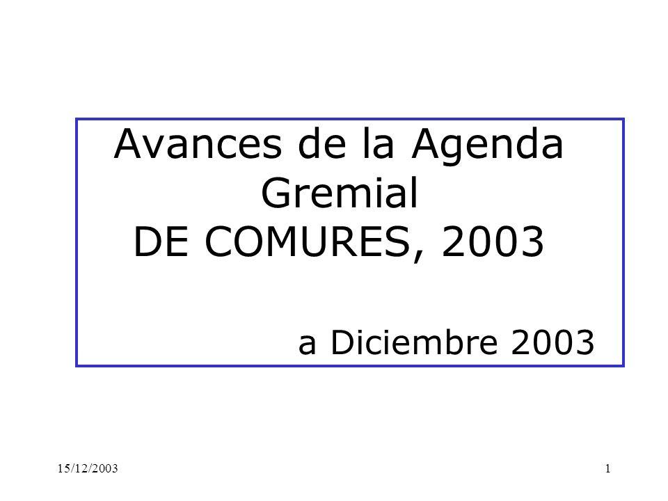15/12/20031 Avances de la Agenda Gremial DE COMURES, 2003 a Diciembre 2003