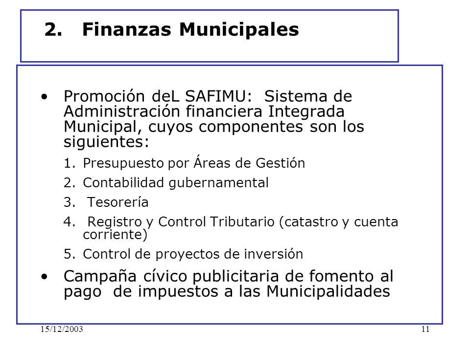 15/12/200311 2. Finanzas Municipales Promoción deL SAFIMU: Sistema de Administración financiera Integrada Municipal, cuyos componentes son los siguien