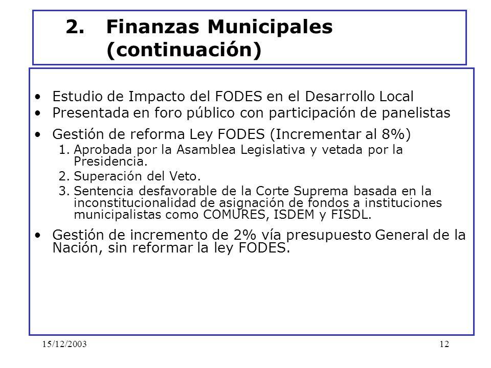 15/12/200312 2.Finanzas Municipales (continuación) Estudio de Impacto del FODES en el Desarrollo Local Presentada en foro público con participación de