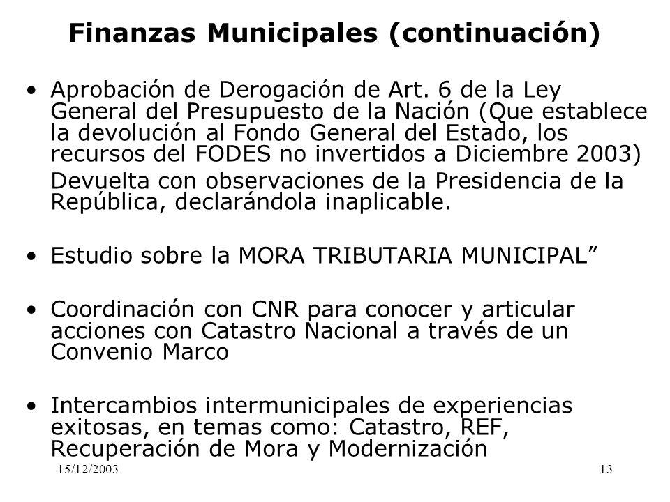 15/12/200313 Finanzas Municipales (continuación) Aprobación de Derogación de Art. 6 de la Ley General del Presupuesto de la Nación (Que establece la d