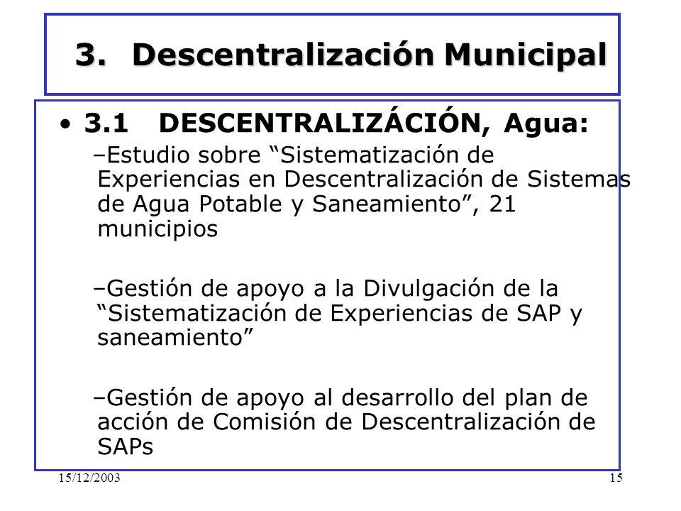 15/12/200315 3.Descentralización Municipal 3.1 DESCENTRALIZÁCIÓN, Agua: –Estudio sobre Sistematización de Experiencias en Descentralización de Sistema