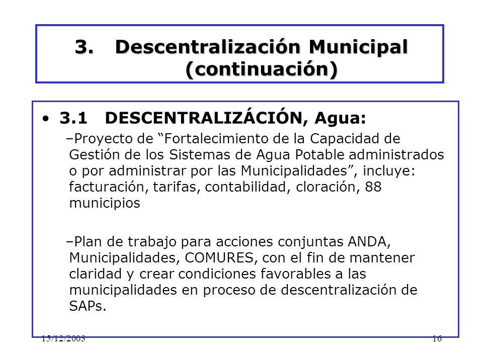 15/12/200316 3.Descentralización Municipal (continuación) 3.1 DESCENTRALIZÁCIÓN, Agua: –Proyecto de Fortalecimiento de la Capacidad de Gestión de los