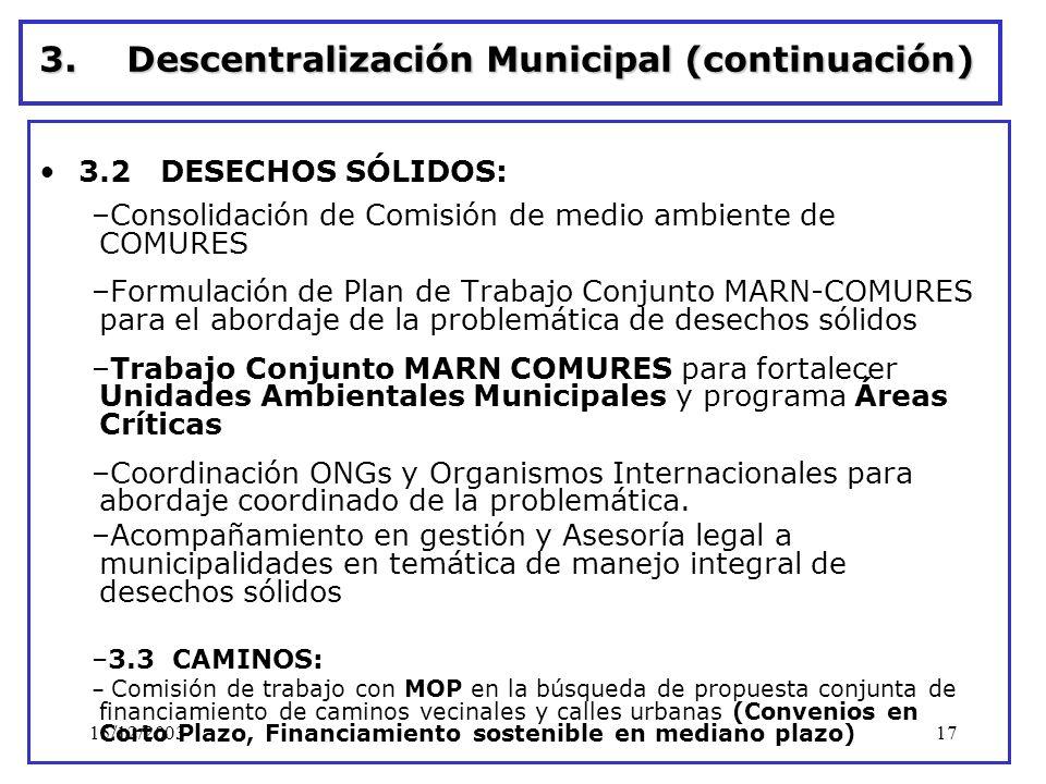 15/12/200317 3.Descentralización Municipal (continuación) 3.2 DESECHOS SÓLIDOS: –Consolidación de Comisión de medio ambiente de COMURES –Formulación d