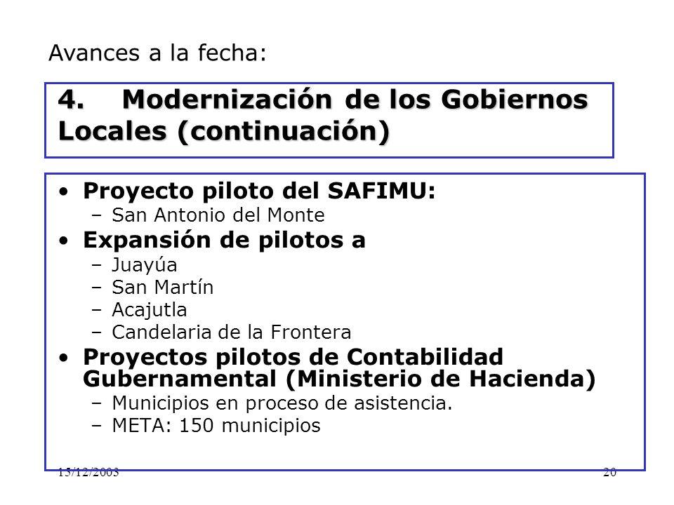 15/12/200320 4. Modernización de los Gobiernos Locales (continuación) Proyecto piloto del SAFIMU: –San Antonio del Monte Expansión de pilotos a –Juayú