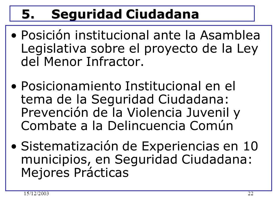 15/12/200322 5. Seguridad Ciudadana Posición institucional ante la Asamblea Legislativa sobre el proyecto de la Ley del Menor Infractor. Posicionamien
