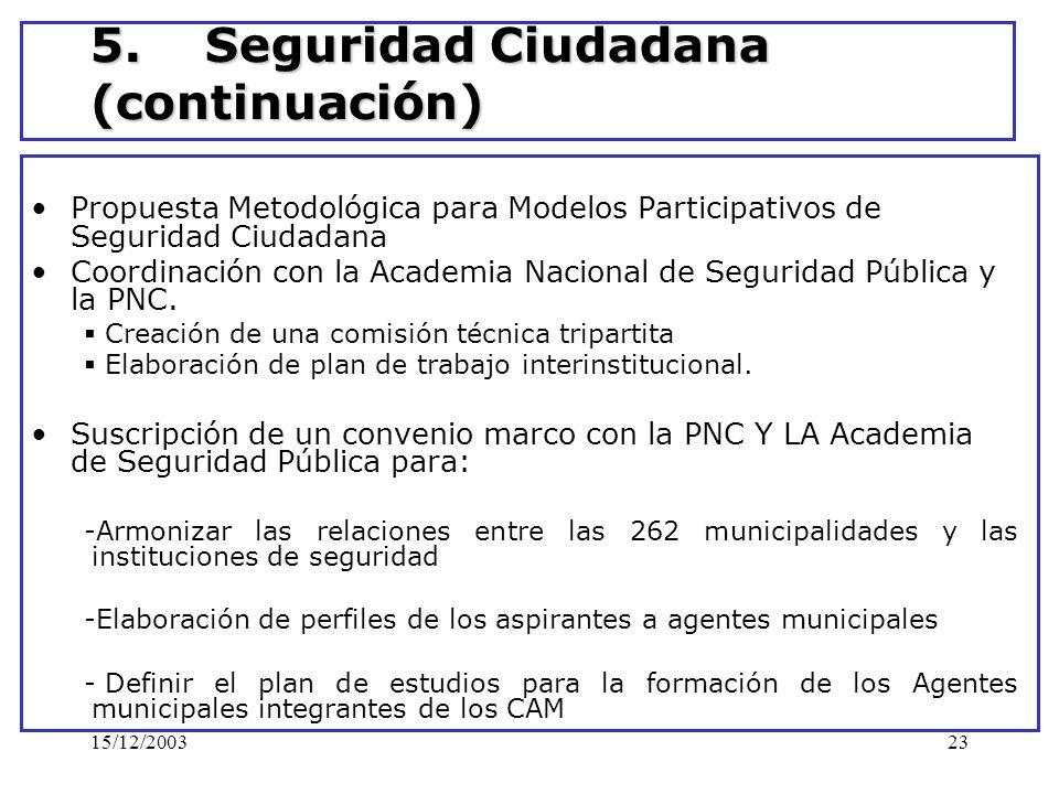 15/12/200323 5. Seguridad Ciudadana (continuación) Propuesta Metodológica para Modelos Participativos de Seguridad Ciudadana Coordinación con la Acade