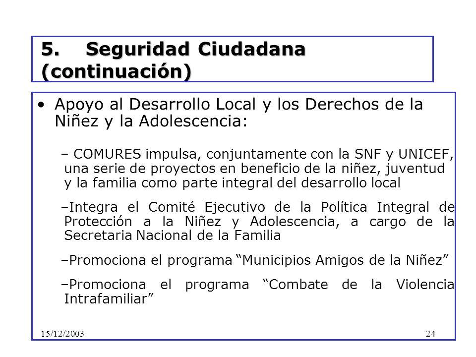 15/12/200324 5. Seguridad Ciudadana (continuación) Apoyo al Desarrollo Local y los Derechos de la Niñez y la Adolescencia: – COMURES impulsa, conjunta
