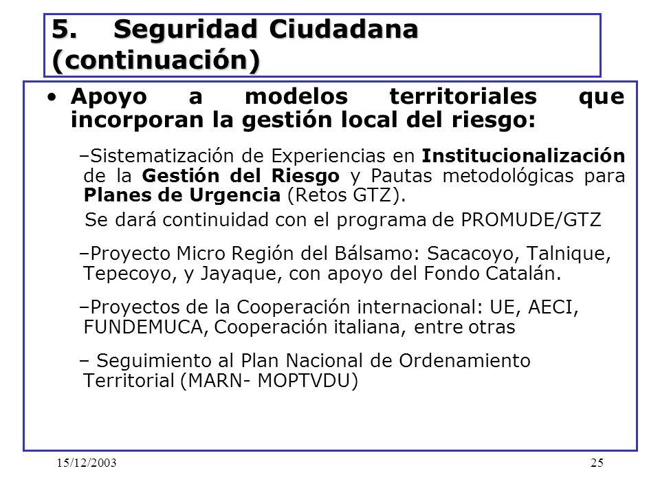 15/12/200325 5. Seguridad Ciudadana (continuación) Apoyo a modelos territoriales que incorporan la gestión local del riesgo: –Sistematización de Exper