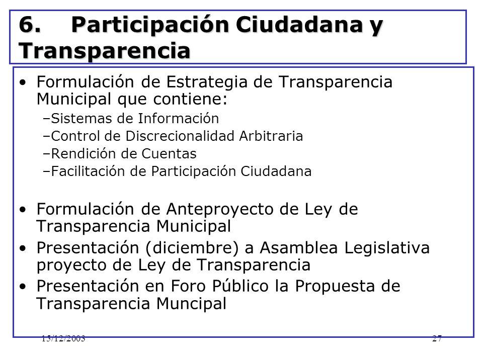 15/12/200327 6. Participación Ciudadana y Transparencia Formulación de Estrategia de Transparencia Municipal que contiene: –Sistemas de Información –C