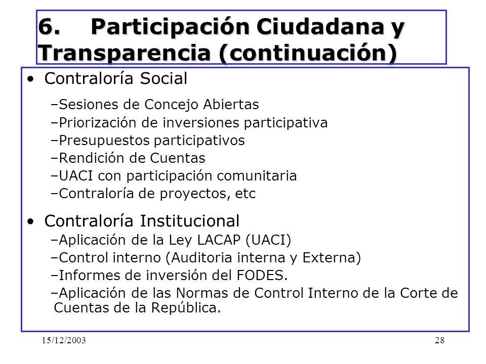15/12/200328 6. Participación Ciudadana y Transparencia (continuación) Contraloría Social –Sesiones de Concejo Abiertas –Priorización de inversiones p