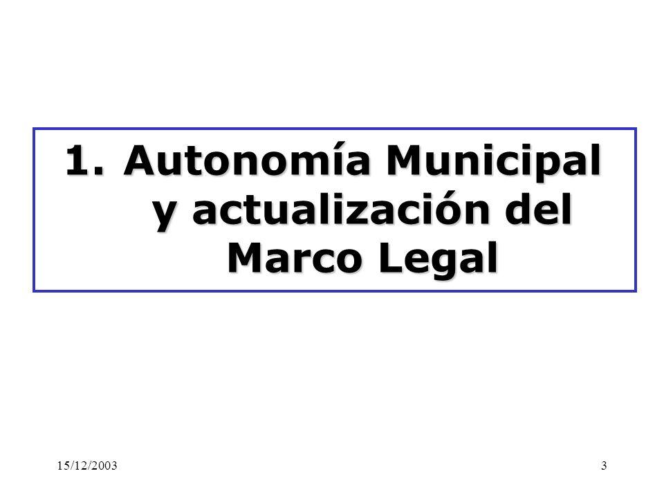 15/12/20033 1.Autonomía Municipal y actualización del Marco Legal