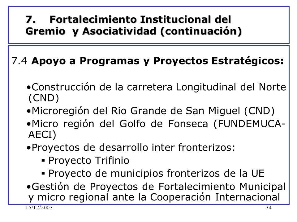 15/12/200334 7. Fortalecimiento Institucional del Gremio y Asociatividad (continuación) 7.4 Apoyo a Programas y Proyectos Estratégicos: Construcción d