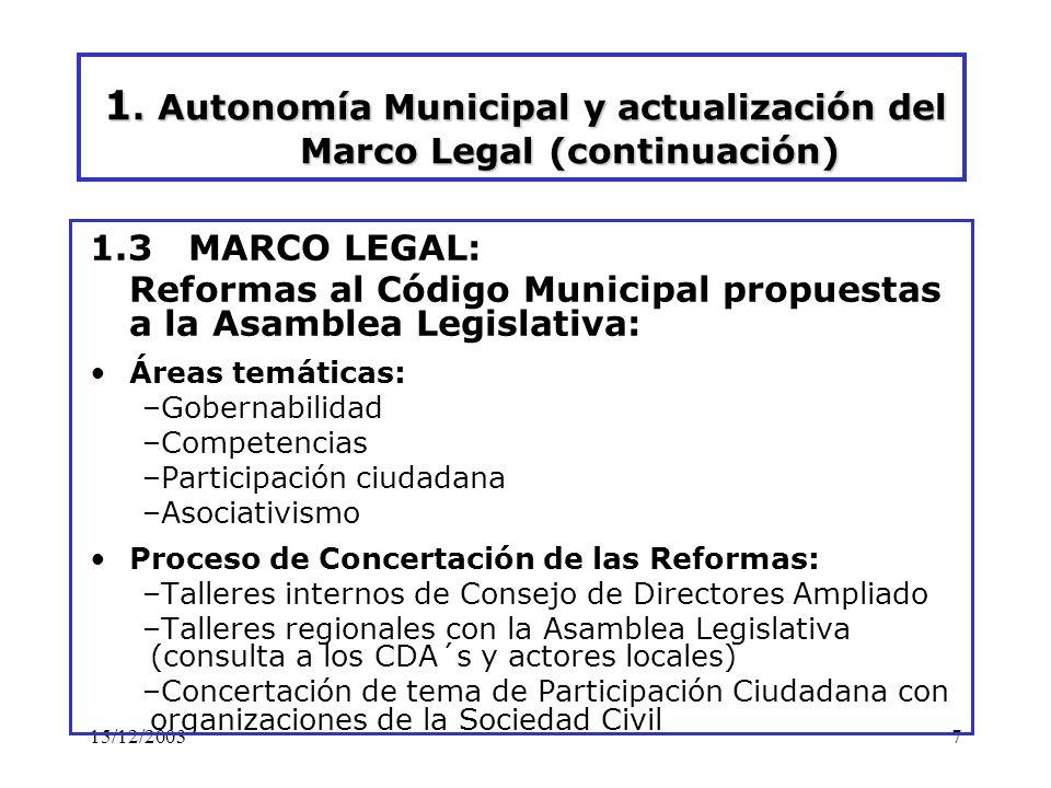 15/12/20037 1. Autonomía Municipal y actualización del Marco Legal (continuación) 1.3 MARCO LEGAL: Reformas al Código Municipal propuestas a la Asambl