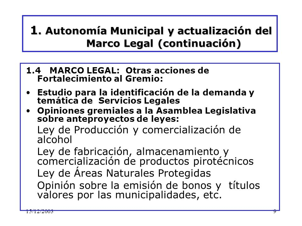 15/12/200310 2.Finanzas Municipales
