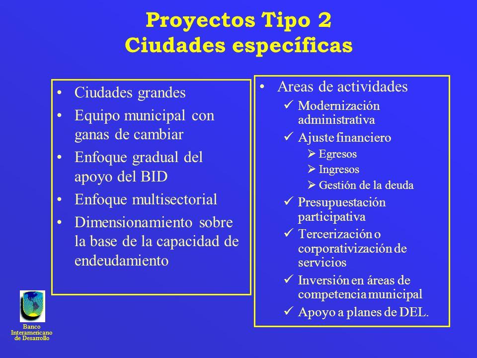 Banco Interamericano de Desarrollo Proyectos Tipo 2 Ciudades específicas Ciudades grandes Equipo municipal con ganas de cambiar Enfoque gradual del ap