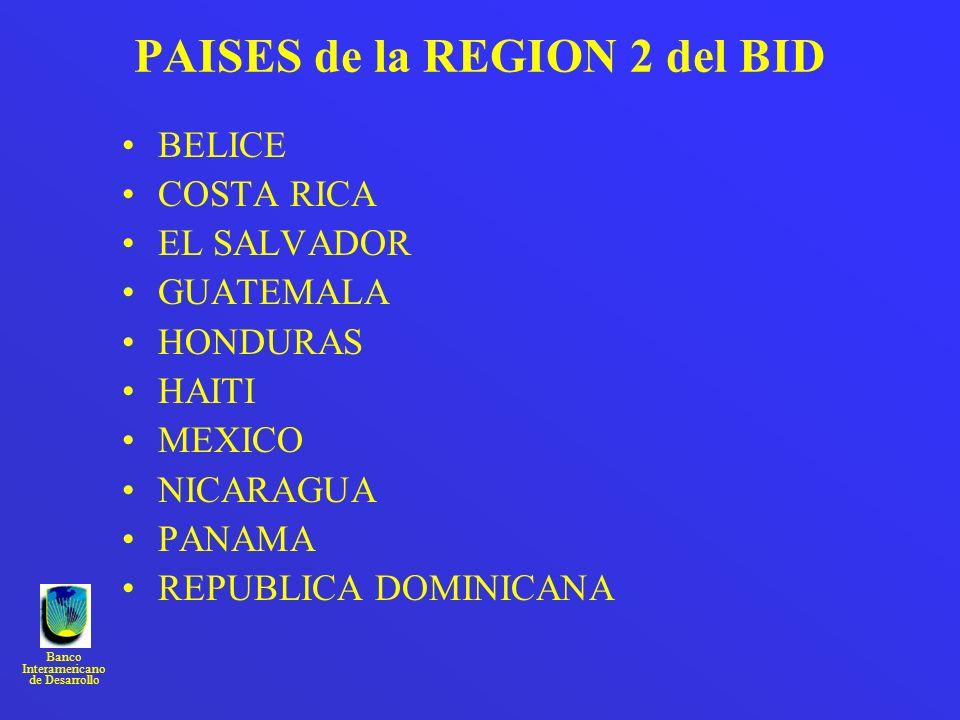 Banco Interamericano de Desarrollo PAISES de la REGION 2 del BID BELICE COSTA RICA EL SALVADOR GUATEMALA HONDURAS HAITI MEXICO NICARAGUA PANAMA REPUBL