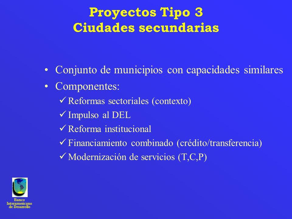 Banco Interamericano de Desarrollo Proyectos Tipo 3 Ciudades secundarias Conjunto de municipios con capacidades similares Componentes: Reformas sector