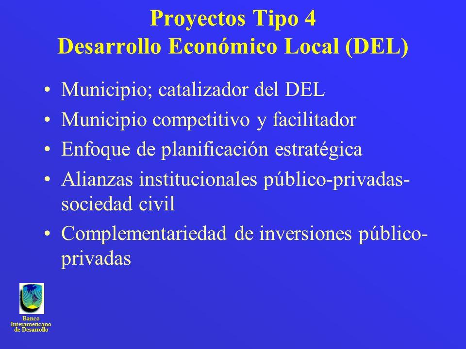 Banco Interamericano de Desarrollo Proyectos Tipo 4 Desarrollo Económico Local (DEL) Municipio; catalizador del DEL Municipio competitivo y facilitado