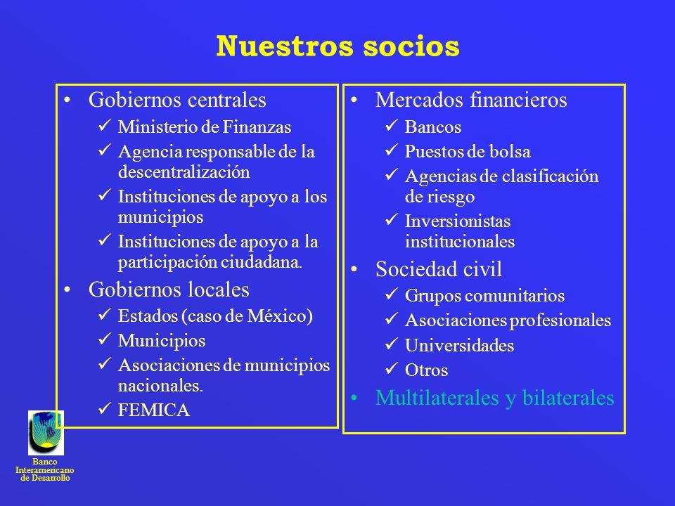 Banco Interamericano de Desarrollo Nuestros socios Gobiernos centrales Ministerio de Finanzas Agencia responsable de la descentralización Institucione