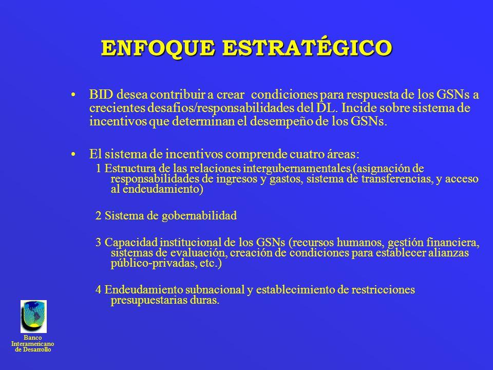 Banco Interamericano de Desarrollo ENFOQUE ESTRATÉGICO BID desea contribuir a crear condiciones para respuesta de los GSNs a crecientes desafios/respo