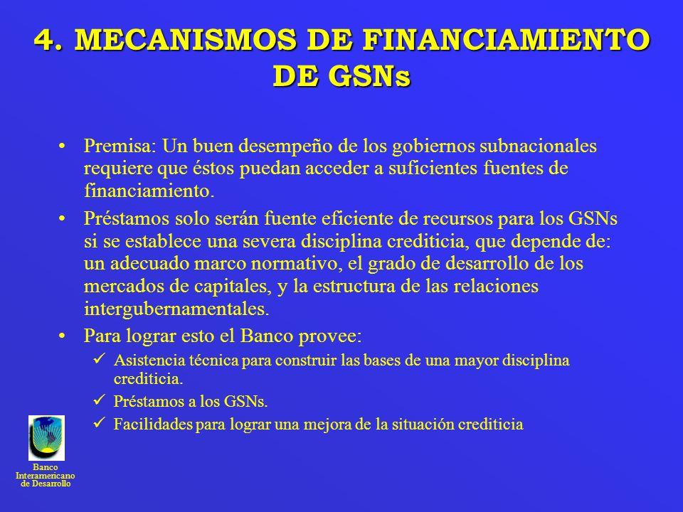 Banco Interamericano de Desarrollo 4. MECANISMOSDEFINANCIAMIENTO DE GSNs 4. MECANISMOS DE FINANCIAMIENTO DE GSNs Premisa: Un buen desempeño de los gob