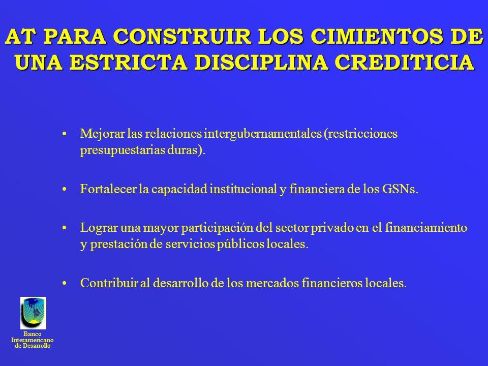 Banco Interamericano de Desarrollo AT PARA CONSTRUIR LOS CIMIENTOS DE UNA ESTRICTA DISCIPLINA CREDITICIA Mejorar las relaciones intergubernamentales (